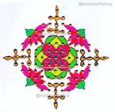 Lotus flower deepam sikku kolam jan 2017 with dots Rangoli Designs With Dots, Kolam Designs, Indian Rangoli, Jan 2017, Lotus Flower, Symbols, Flowers, Art, Art Background