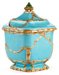 """One Kings Lane 10"""" Astor Pagoda Canister, Turquoise"""