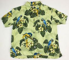 Guy Harvey Mens Sz M Light Green Blue Macaw Bird Camp Hawaiian Shirt Silk  #GuyHarvey #Hawaiian