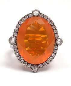 amazing estate 18k white gold 1ctw diamond mexican fire opal cocktail ring on…