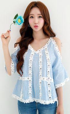 StyleOnme_Flower Motif Trim Pinstripe Cold Shoulder Blouse #pinstripe #cute #blue #koreanfashion #kstyle #kfashion #seoul #summerlook #blouse