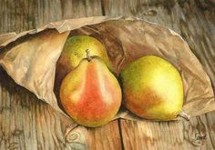 Pears in Paper, watercolor - Katrina Small   #springforpears and #usapears