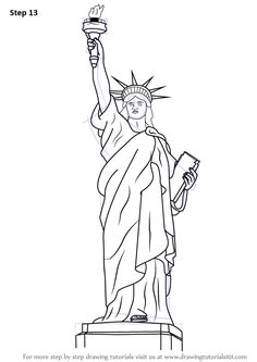 Learn How to Draw Statue of Liberty (Statues) Step by Step : Drawing Tutorials