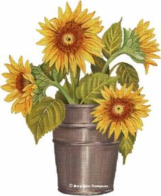 MLT253    13 mesh  (9.5x12)   Sunflower Pail  Mary Lake Thompson Designs for Melissa Shirley Designs