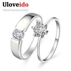 2 개 크리스탈 시뮬레이션 다이아몬드 보석 웨딩 오프 30% 약혼 반지 남성 여성 액세서리 Aliancas 드 Casamento Ulove J002