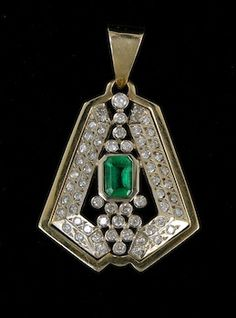 gold, diamond and emerald deco pendant