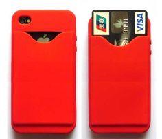 Cover (KreditKort holder) holder til iPhone 4 - Rød