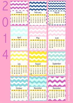 Free printable 2014 chevron calendar cards - ausdruckbarer Kalender - freebie | MeinLilaPark – digital freebies