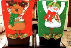 Molde Cubresillas reno y muñeco nieve Christmas Sewing Projects, Christmas Crafts, Christmas Decorations, Christmas Ornaments, Holiday Decor, Christmas 2016, Xmas, Christmas Chair Covers, Christmas Stockings