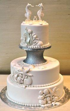 Beach Theme-wedding cake-Seahorses topper-The Cake Zone | Flickr - Photo Sharing!