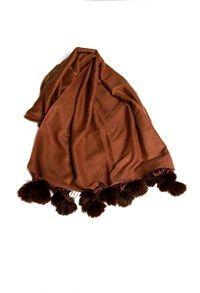 Semi Pashmina,The Carpet Cellar,Silk Pashmina Stole with Fur Tassled Pom Poms Chocolate