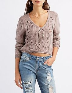 25b4cdde232 Cable Knit Lace-Up Back Chunky Cable Knit Sweater