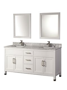 Acer 84 Inch White Solid Wood Double Bathroom Vanity
