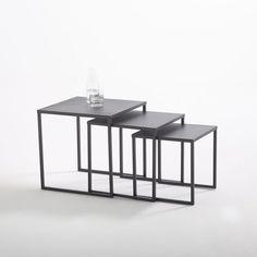 Tables gigogne acier laqué noir mat (lot de 3), Hi La Redoute Interieurs