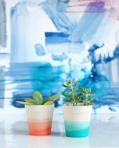 Add a little something extra to a modern wedding table with these DIY ombre potted plants. Fill them with herbs or succulents for some cute wedding favors. Diy Ombre, Painted Flower Pots, Painted Pots, 30 Diy Christmas Gifts, Diy Gifts For Mothers, Boho Deco, I Spy Diy, Fleurs Diy, Decoration Plante