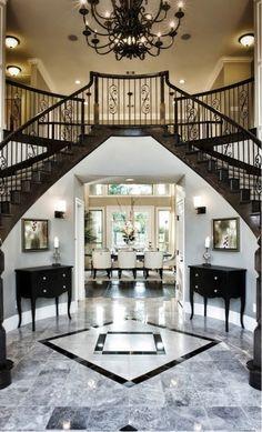 Foyer Design, Staircase Design, House Design, Foyer Flooring, Double Staircase, Foyer Decorating, Decorating Ideas, House Entrance, Grand Entrance