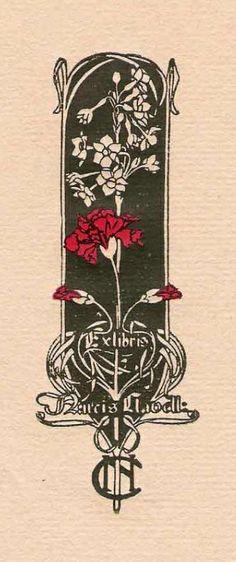 Ex libris by Alexander de Riquer (1856-1920) for Narcís Clavell