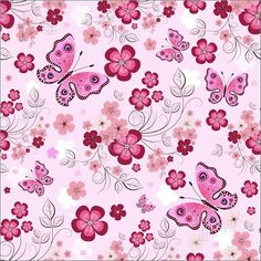 Pink Flower Border | Pink seamless floral pattern with flowers and butterflies (vector)