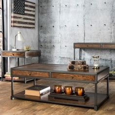 Furniture of America Thorne Antique Oak Industrial Coffee Table - Overstock Shopping - Great Deals on Furniture of America Coffee, Sofa & End Tables
