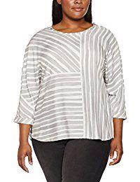 SAMOON Damen Bluse Round Neck Stripe