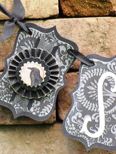Vintage Halloween Inspired SPOOKY Banner Garland Victorian Paper Rosettes Crow RAVEN Grey and Black damask