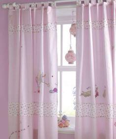 pembe desenli çocuk yatak odaları için perde modeli