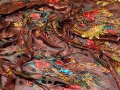 John Kaldor Burn Out Silk Chiffon Fabric Coffee