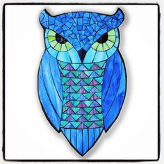 Blue Horned Owl - Stained Glass Mosaic by Kasia Polkowska - visit www.kasiamosaics.com for class schedule, limited release templates and original fine art.