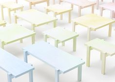 Japanese design studio Nendo covered this series of tables in paper and applied colour using crayons.