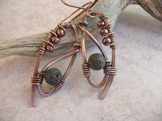Copper Wire Wrapped Earrings with Black Volcanic Lava Beads, Antiqued Copper Earrings, Boho Earrings, Long Dangle Earrings, Wirework, Rustic by fancyyoudesigns on Etsy https://www.etsy.com/listing/254519648/copper-wire-wrapped-earrings-with-black