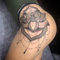 Thigh piece Side Hip Tattoos, Hip Thigh Tattoos, Chest Tattoos For Women, Back Tattoo Women, Hot Tattoos, Pretty Tattoos, Mini Tattoos, Body Art Tattoos, Sleeve Tattoos