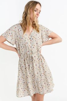 Kochia Dress Dots Flower – Lily Charlotte, March, Dots, Lily, Feminine, Neckline, Flower, Casual, Sleeves