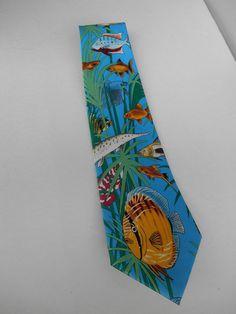 Tie Mania Aquarium Tie Necktie Goldfish Koi Blue Hand Tied #TieMania #NeckTie