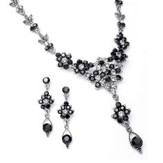 Jet Black Crystal Cluster Necklace Set with Drop - Bridal Fashion Jewelry Elegant jet black crystal necklace set for bridesmaids,prom,cocktail parties, formals and special occasions and events. Prom Jewelry, Jewelry Logo, Bridesmaid Jewelry Sets, Wedding Jewelry Sets, Crystal Jewelry, Crystal Necklace, Sterling Silver Necklaces, Bridesmaid Dress, Silver Jewelry