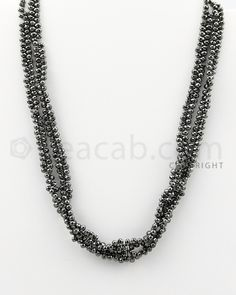 """3.50 to 4.00 mm - 2 Lines - #""""Black Diamond Drop Beads"""" - 16 inches (DiaDrp1023)"""