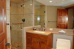 Walk in Shower with Vanity Bathroom Renovation by Hoganwerks Interior Renovation of Snowmass, Colorado