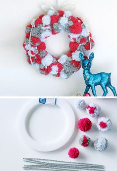 Holiday Pompom Wreath | DIY Christmas Wreaths for Front Door | Easy Christmas Decorating Ideas 2015