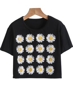 Black Short Sleeve Sunflowers Print Crop T-Shirt 7.99