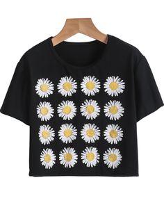 Camiseta Crop girasol manga corta-negro US$9.90