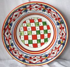 Williams Sonoma Large Lucca Round Serving Bowl Made in Italy Red Blue Green