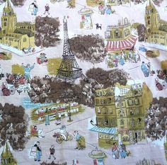 Vintage Barkcloth Fabric PARIS Scene