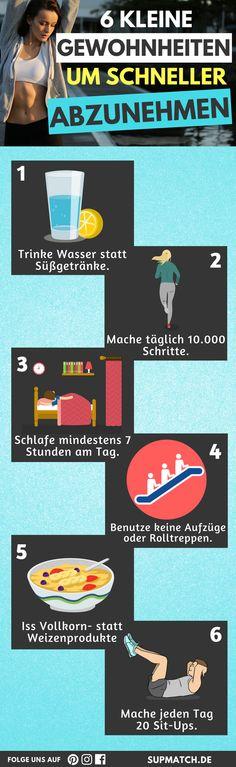 6 kleine Gewohnheiten um schneller abzunehmen.