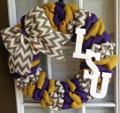 Burlap wreath  LSU Wreath  LSU Tigers  LSU Decor  by JnSMDesigns