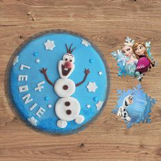 Ganz beliebt bei den Kleinen. Ein Kuchen mit Schneemann Olaf von der Eiskönigin. Frozen.