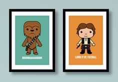 Star Wars inspired wall art, kids wall art, Star Wars, Han Solo, Chewbacca, Han & Chewie, Fuzzball, Star Wars nursery, Star Wars wall art by MiniHeroes on Etsy https://www.etsy.com/listing/201122653/star-wars-inspired-wall-art-kids-wall