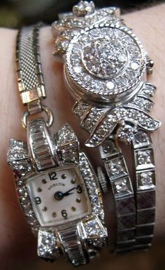 Two vintage mid-century diamond watches at The Antique Guild in Old Town Alexandria, Virginia. Via Diamonds in the Library.