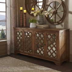 Hamptons Quatrefoil Reclaimed Wood Mirrored Buffet Sideboard Cabinet by SIGNAL HILLS