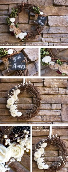 door wreath May have to make this at girls night!! Love the white flowers!!