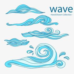 Collection of hand-drawn waves Free Vector Wave Drawing, Wave Illustration, Waves Vector, Hawaiian Art, Wave Art, Flyer, Art Deco Design, Art Drawings Sketches, Surf