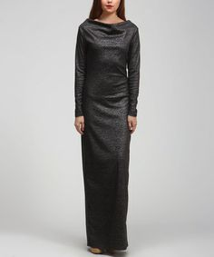 Take a look at this Black Animal Drape Maxi Dress by BOLD & BEAUTIFUL on #zulily today!